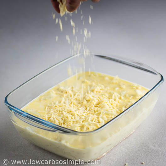 Quick and Easy 5-Ingredient Cauli 'n' Cheese; Sprinkling Cheese on Top | Low-Carb, So Simple!