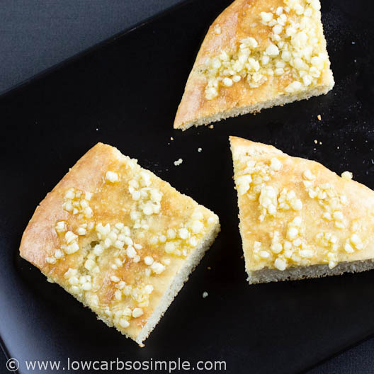 Gluten-Free Low-Carb Flat Bread / Deep Pan Pizza Crust; Basic Flat Bread with Crushed Garlic and Olive Oil| Low-Carb,So Simple!