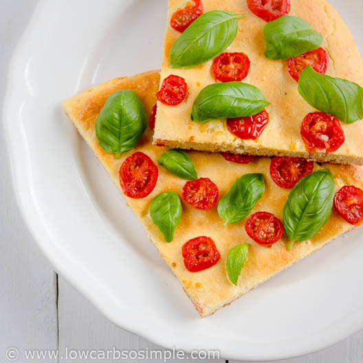 Gluten-Free Low-Carb Flat Bread / Deep Pan Pizza Crust; Focaccia with Cherry Tomatoes and Fresh Basil | Low-Carb,So Simple!