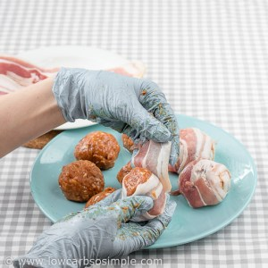 Image of Preparing Bacon Wrapped Chicken Meatballs; Wrapping the Meatballs in Bacon   Low-Carb, So Simple