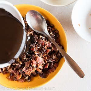 Low-Carb Bacon And Candied Pecan Bark; Adding the Melted Chocolate| Low-Carb, So Simple!