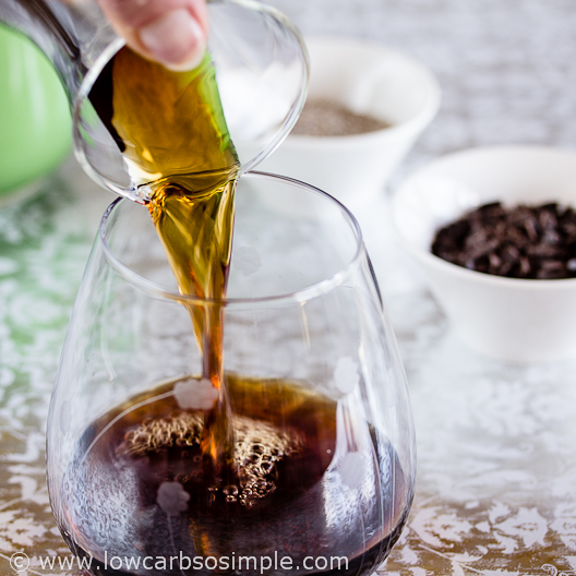 Coffee and Chocolate Chip Chia Pudding; Pouring in the Coffee | Low-Carb, So Simple
