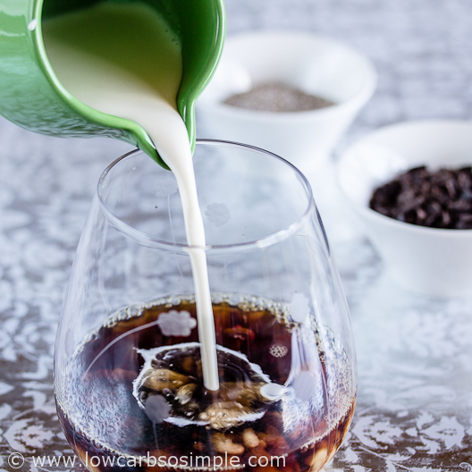 Coffee and Chocolate Chip Chia Pudding; Pouring in the Cream | Low-Carb, So Simple