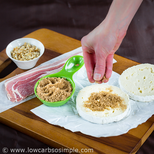 Bacon Wrapped Camembert with Walnuts; Sprinkling Sweetener | Low-Carb, So Simple