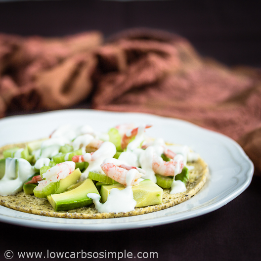 2-Minute 3-Ingredient Low-Carb Tortillas; Savory Variation Topped with Avocado, Celery, Shrimp and Mayo | Low-Carb, So Simple