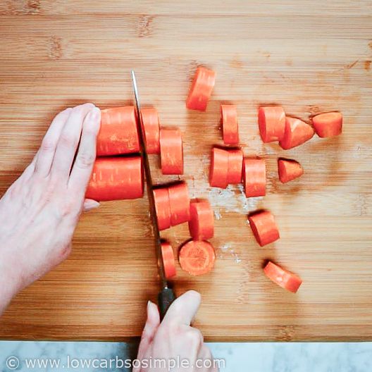 Chopping Carrots for the Bone Broth | Low-Carb, So Simple