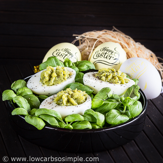 Best-o Keto Pesto Deviled Eggs; Happy Easter! | Low-Carb, So Simple