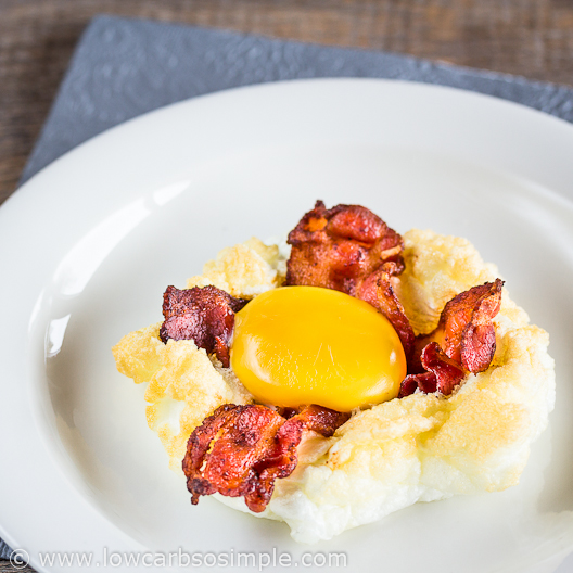 Bacon and Eggs on a Cloud; With Fried Bacon Slices | Low-Carb, So Simple
