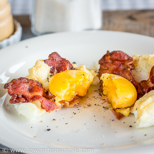 Bacon and Eggs on a Cloud; With Fried Bacon Slices   Low-Carb, So Simple