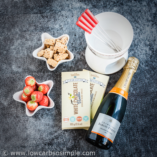Ingredients for the 2-Ingredient Champagne White Chocolate Fondue | Low-Carb, So Simple