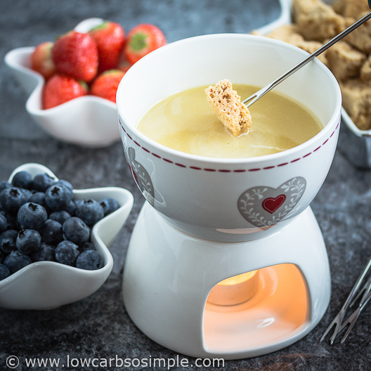 2-Ingredient Champagne White Chocolate Fondue; Dipping PB Cake | Low-Carb, So Simple