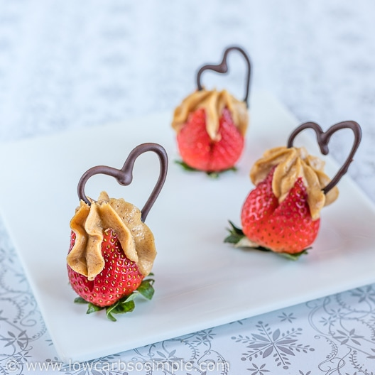 Peanut Butter Stuffed Strawberries with Chocolate Hearts | Low-Carb, So Simple