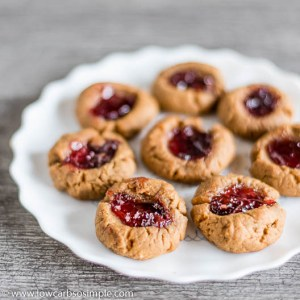 Flourless Sugar-Free Nut Butter and Jam Thumbprint Cookies | Low-Carb, So Simple