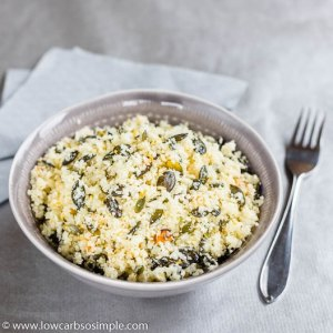 Zippy Lemon Cauliflower Rice with Garlic and Toasted Pumpkin Seeds | Low-Carb, So Simple