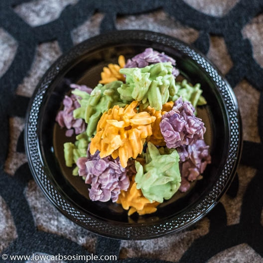 Scaringly Easy Halloween Haystacks in Different Colors | Low-Carb, So SImple
