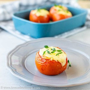 4-Ingredient Creamy Pesto-Stuffed Baked Tomatoes | Low-Carb, So Simple