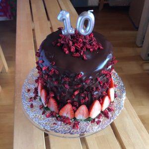 10th Birthday Chocolate Strawberry Keto Cake