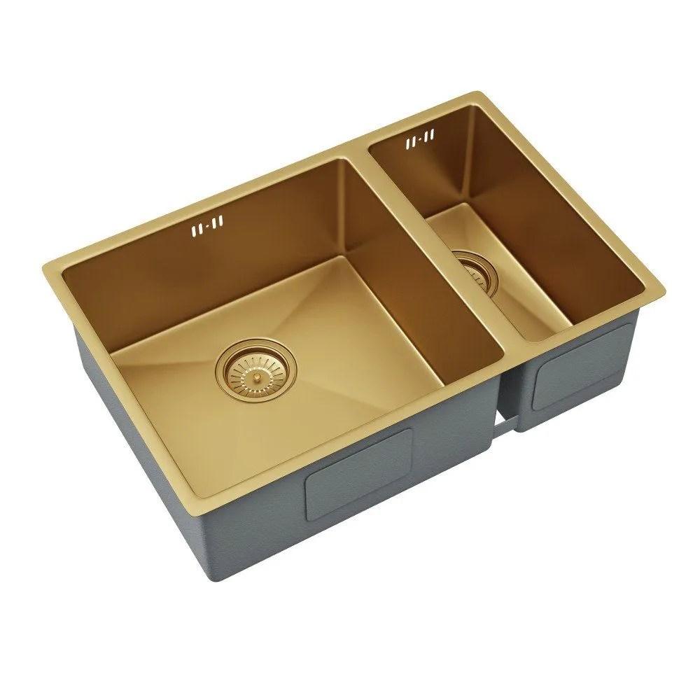 ellsi elite 1 5 bowl inset undermounted stainless steel kitchen sink waste gold