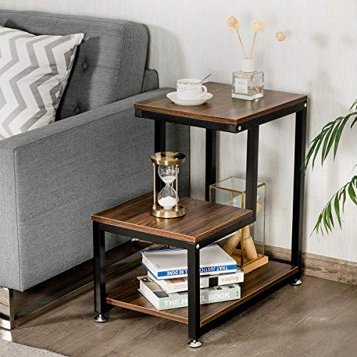 3 tier rustic metal frame nightstand with storage shelf