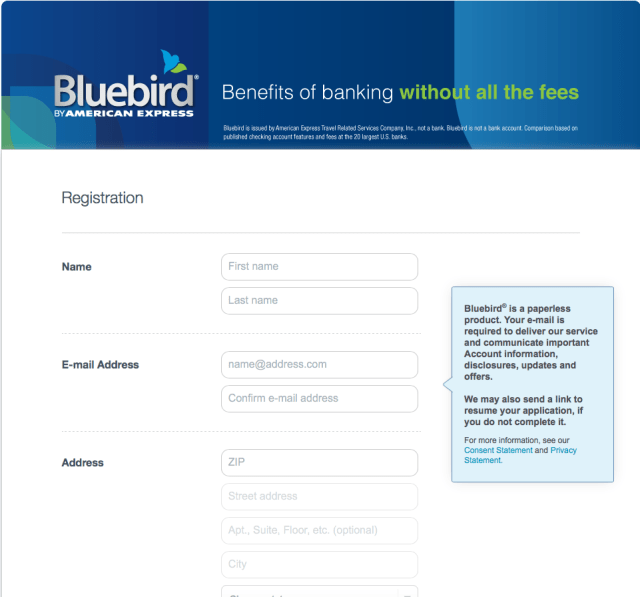 """""""Sign up for Bluebird Card Account"""""""