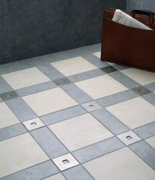 Metal Accent Tiles   Foundry Art   Lowitz   Company Square 3x3 inch in White Bronze with blue and gray limestone