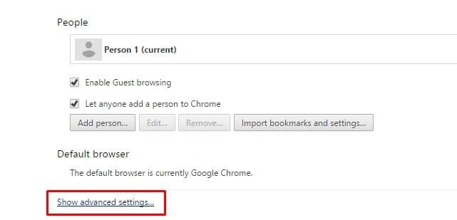 select Settings option and then Advanced Settings