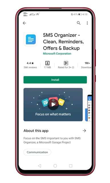 install the SMS organizer app