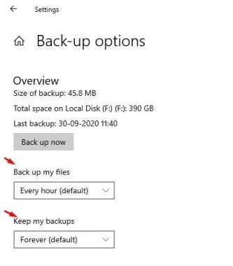 Select the backup time