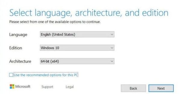 select the Language, Edition, Architecture