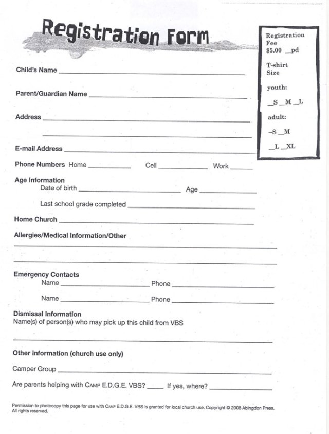 vbs registration form template free download