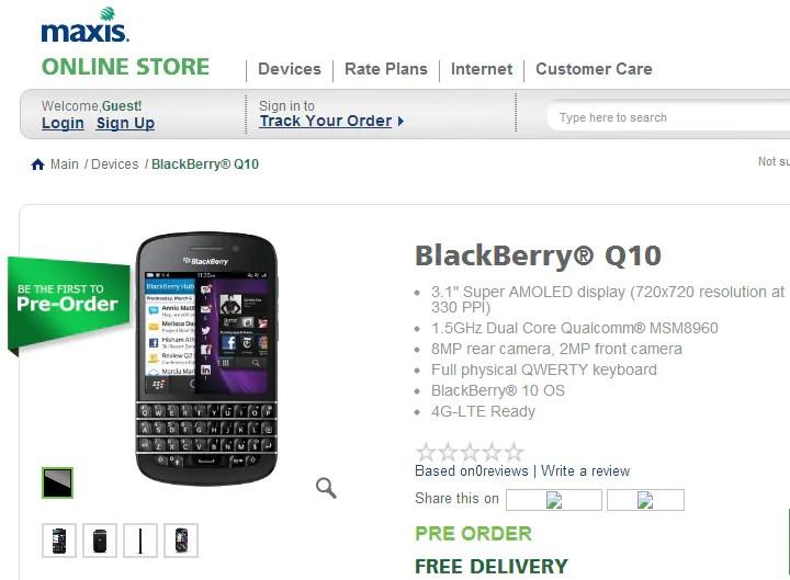 Maxis Unveils BlackBerry Q10 Bundles, From RM1,178 | Lowyat NET