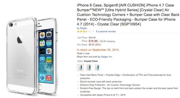 Spigen iPhone 6 Listing on Amazon