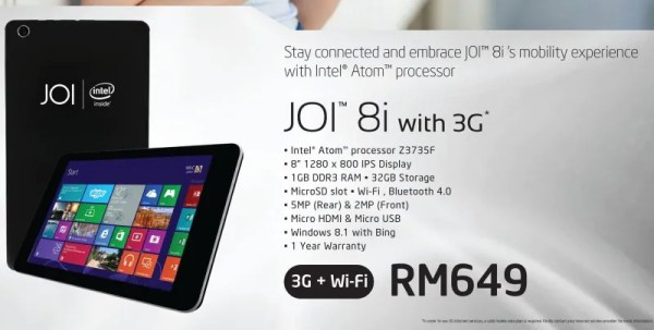 Joi 8i Windows 8.1 Tablet with 3G