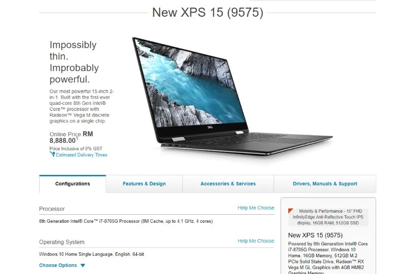 Dell XPS 15 2-in-1 with Intel Core G Processor and AMD