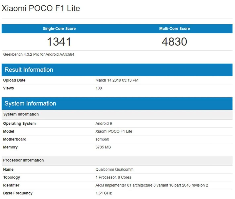 Xiaomi Pocophone F1 Lite Appears On Geekbench