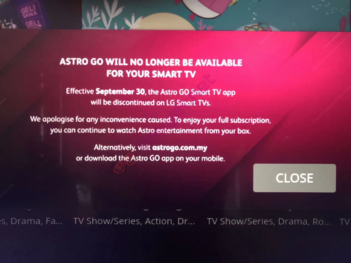 Astro to discontinue Astro GO App on LG TV's effective 30th