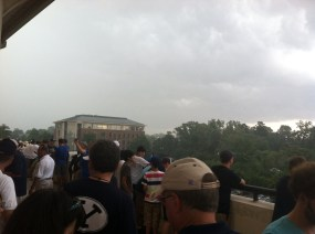 BYU fans waiting out the lightning on the concourse