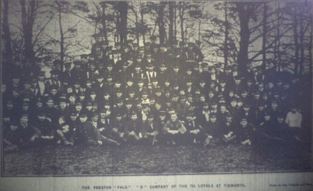 Photo of `D` Company, 7th Battalion (Preston Pals) taken on the 21 November, 1914 at Tidworth.