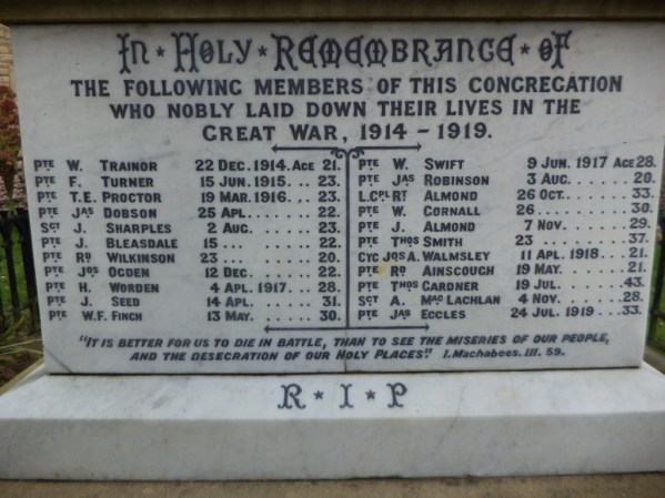 ST WILFRED`S RC CHURCH MEMORIAL NAME PANEL
