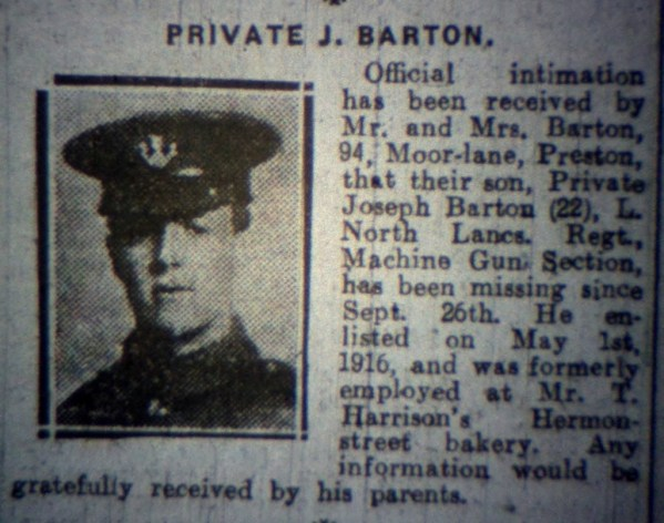 24134 Private Joseph Barton 1st Battalion