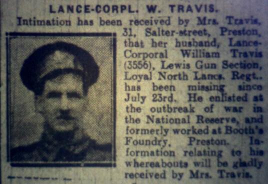 3556 Lance Corporal William Travis 7th Battalion