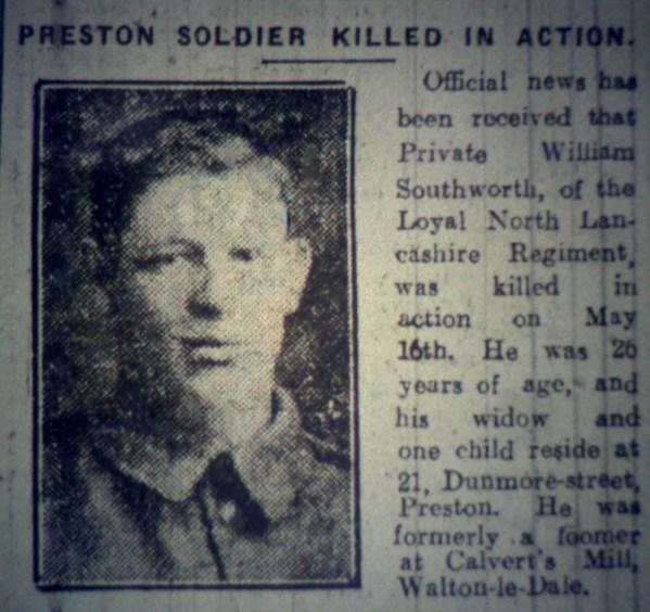 """15083 Private William Southworth """"B"""" Coy 9th Battalion"""