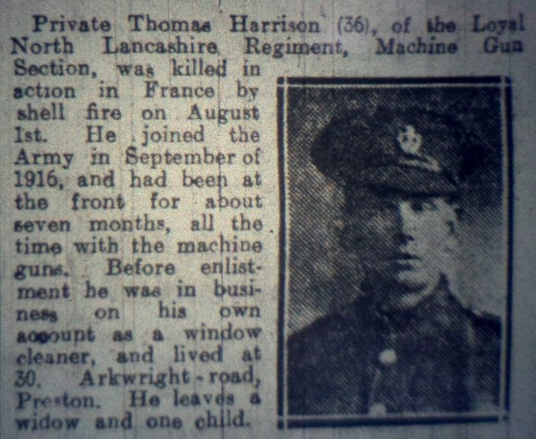 21706 Private Thomas Harrison 8th Battalion