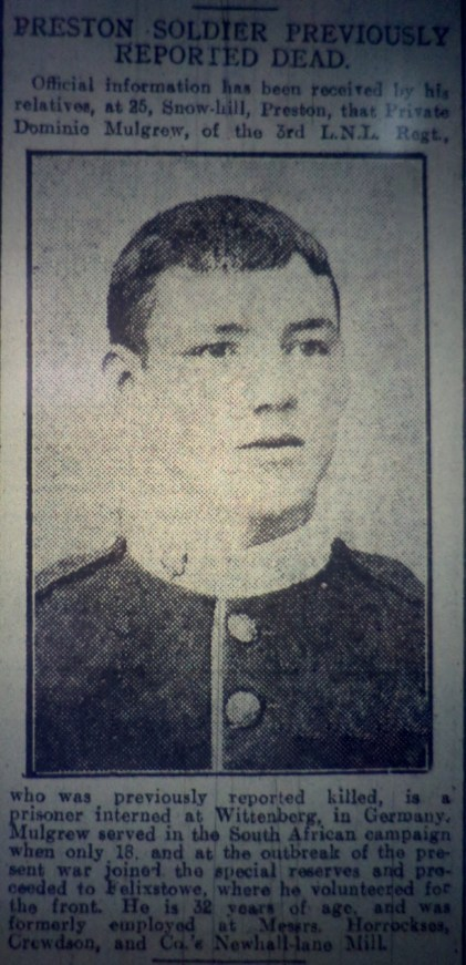 2872 Private Dominic Mulgrew 1st Battalion