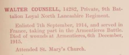 14282 Private Walter Counsell CMB