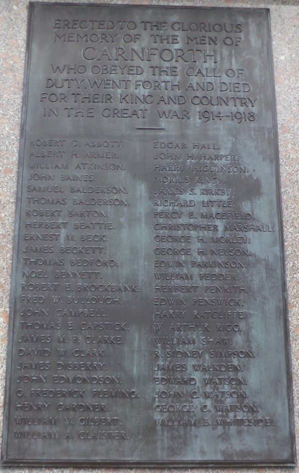 Carnforth War Memorial - panel