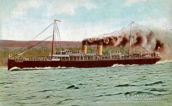 Hospital Ship Cambria - requisitioned by the Admiralty as an Armed boarding steamer in 1914 and became a hospital ship after August 1915.