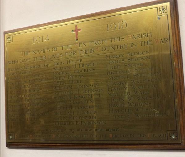 Memorial Plaque St. Peter`s Church, Preston