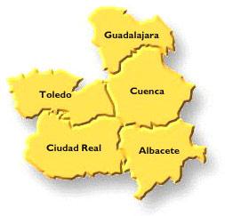 Castilla La Mancha. Consulta Pública para nueva Ley del Juego. Fotografía Mapa donde pueden verse todas la ciudades de Castilla la Mancha