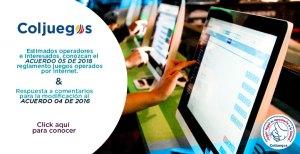 Colombia:  Modificación del Reglamento de Juegos Novedosos operados por Internet, fotografía de una página web